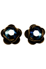 Michal Negrin Khaki Mirror Blue Rose Stud Earrings