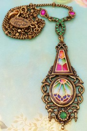 Michal Negrin Multicolor Vitrage Inspired Pendant Necklace