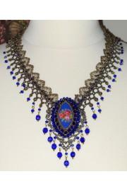Michal Negrin Cobalt Blue Rose Cameo Lace Necklace