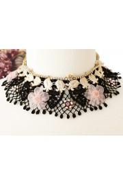 Michal Negrin Black Cream Pink Lace Choker