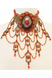 Michal Negrin Roses Cameo Baroque Choker Necklace