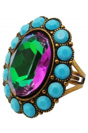 Michal Negrin Turquouse Fuchsia Green Oval Crystal Ring