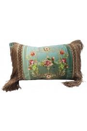 Michal Negrin Turquoise Roses Velvet Fringe Cushion Cover
