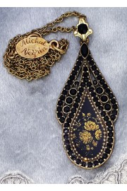 Michal Negrin Black Crystals Cameo Pendant Necklace