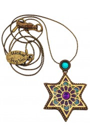 Michal Negrin Turquoise Purple Vitrage Star Of David Necklace
