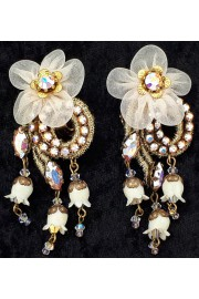 Michal Negrin White Lace Flower Clip Earrings