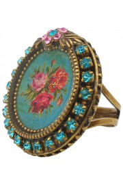 Michal Negrin Aqua Round Rose Cameo Crystal Ring