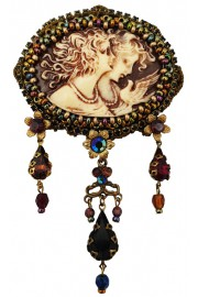 Michal Negrin Women Relief Cameo Lace Brooch