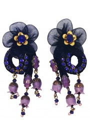 Michal Negrin Purple Black Lace Flower Clip Earrings