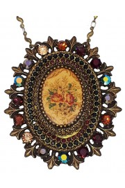 Michal Negrin Earth Tones Roses Crystals Locket Necklace