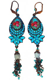 Michal Negrin Turquoise Roses Cameo Drop Earrings