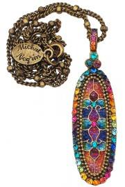 Michal Negrin Multicolor Rainbow Vitrage Inspired Oval Pendant Necklace