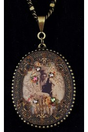 Michal Negrin Flapper Woman Oval Filigree Necklace