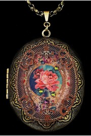 Michal Negrin Victorian Rose Large Filigree Locket Necklace