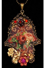 Michal Negrin Spanish Roses Ornate Hamsa Necklace