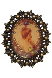 Michal Negrin Victorian Lady Cameo Ornate Brooch