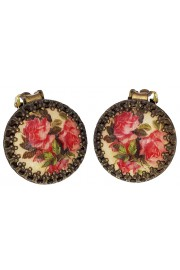 Michal Negrin Pink Roses Round Clip On Earrings