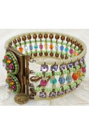 Michal Negrin Multicolor Green Beaded Cuff Bracelet