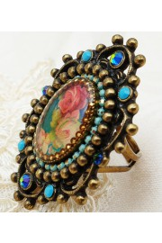 Michal Negrin Turquoise Rose Cameo Ring