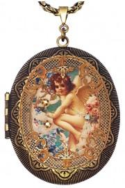 Michal Negrin Angel Large Filigree Locket Necklace