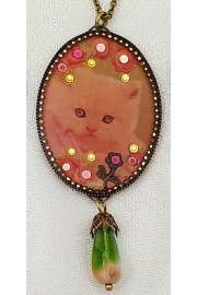 Michal Negrin Kitty Cat Oval Cameo Necklace