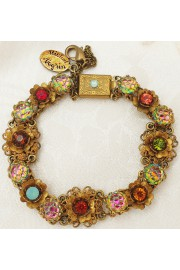 Michal Negrin Multicolor Crystals Gold Flowers Bracelet