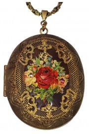 Michal Negrin Rose Large Filigree Locket Necklace