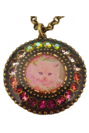 Michal Negrin Kitty Cat Round Cameo Necklace