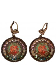 Michal Negrin Vintage Roses Cameo Round Crystal Earrings