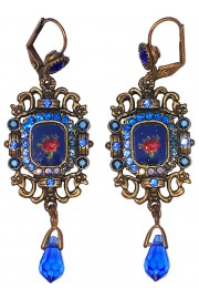 Michal Negrin Blue Victorian Roses Cameo Earrings