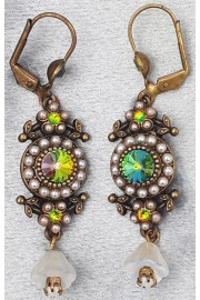 Michal Negrin Pearl Vitrail Earrings