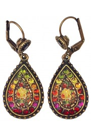 Michal Negrin Multicolor Roses Teardrop Earrings