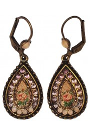 Michal Negrin Peach Roses Teardrop Earrings