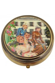 Michal Negrin Compact Pill Box - Victorian Town Pattern