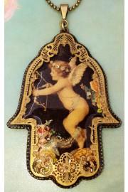 Michal Negrin Cupid Filigree Hamsa Necklace