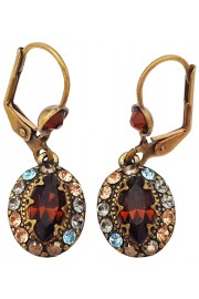 Michal Negrin Bronze Oval Crystal Earrings