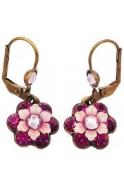 Michal Negrin Fuchsia Crystal Flower Earrings