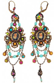 Michal Negrin Multicolor Floral Cameo Chandelier Earrings