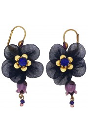 Michal Negrin Purple Black Fabric Flower Earrings