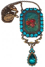 Michal Negrin Turquoise Rose Cameo Necklace