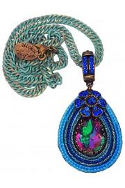 Michal Negrin Blue Strands Teardrop Pendant Necklace