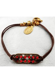 Michal Negrin Red Celtic Flowers Cord Bracelet