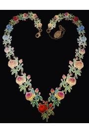 Michal Negrin Multicolor Roses Lasercut Necklace