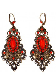 Michal Negrin Tangerine Crystals Victorian Lasercut Earrings