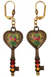 Michal Negrin Heart Key Earrings