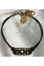 Michal Negrin Black Celtic Flowers Cord Bracelet