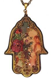 Michal Negrin Victorian Pattern Filigree Hamsa Necklace