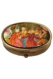 Michal Negrin Oval Compact Pill Box - Baroque Pattern