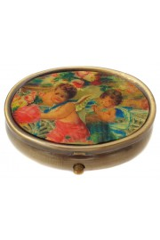 Michal Negrin Oval Compact Pill Box - Cherubs Pattern