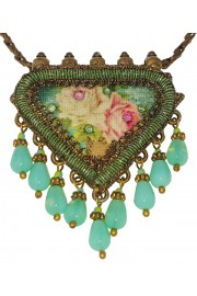 Michal Negrin Green Roses Talisman Necklace